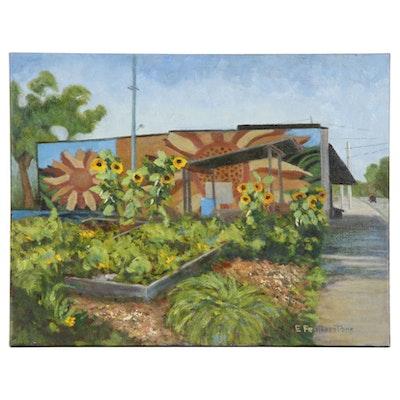 Emily Featherstone Community Garden Scene Acrylic Painting