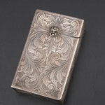 Hand-Chased 800 Silver Cigarette Case, Mid-Century