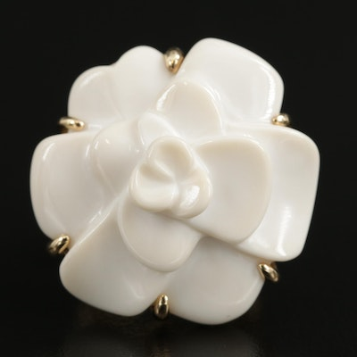 """Chanel """"Camellia"""" 18K Yellow Gold Carved White Agate Flower Ring"""