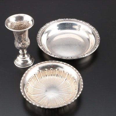 "Towle ""Old Master"" Sterling Bonbon Bowl with American Sterling Cup and Bowl"