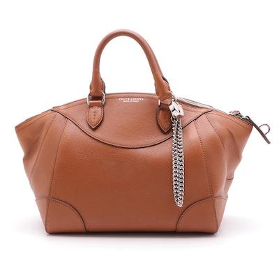 Ralph Lauren Satchel in Cognac Grained Leather