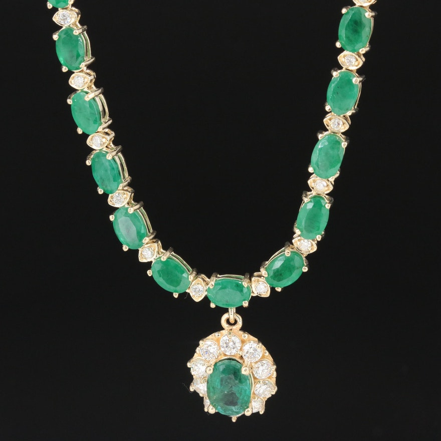 14K Yellow Gold 27.00 CTW Emerald and 1.50 CTW Diamond Necklace