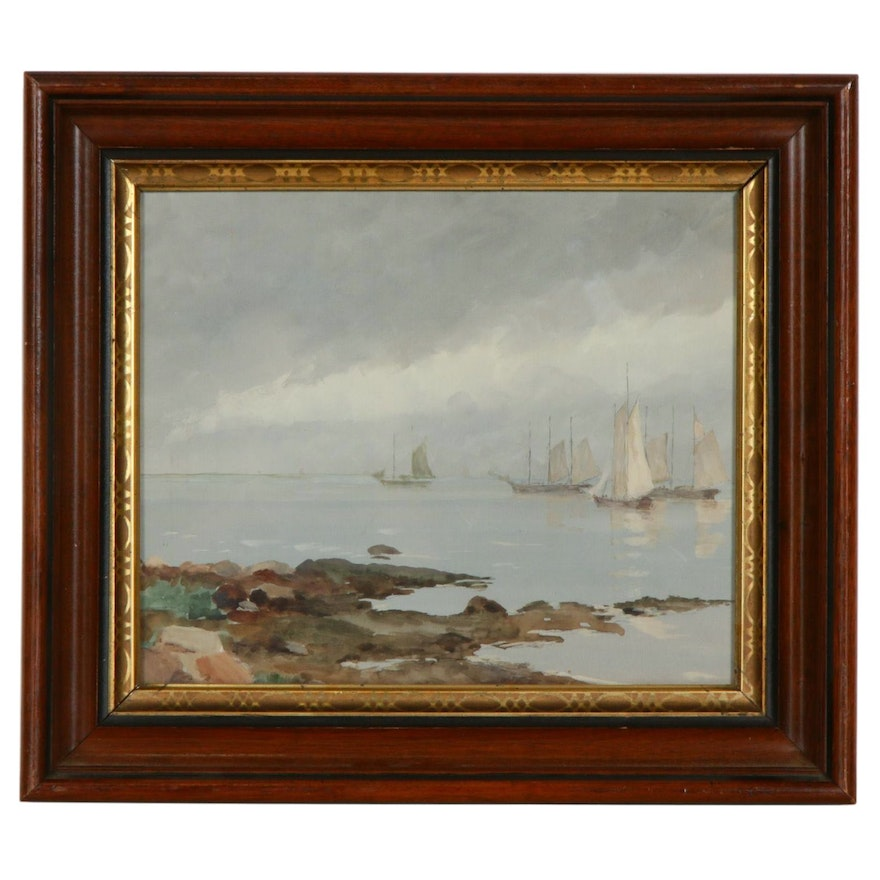 Nautical Scene Gouache Painting, Early to Mid 20th Century