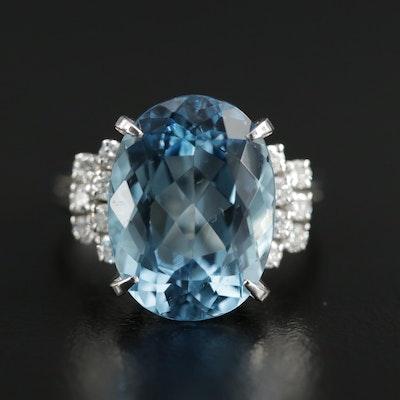Platinum 6.74 CT Aquamarine and Diamond Ring