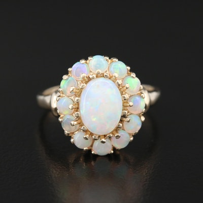 10K Gold Opal Ring with Halo