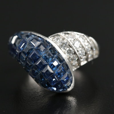 Platinum 4.50 CTW Sapphire and Diamond Ring