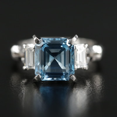 Platinum 2.28 CT Aquamarine and Diamond Ring
