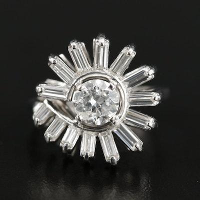 Vintage Platinum 2.11 CTW Diamond Ring