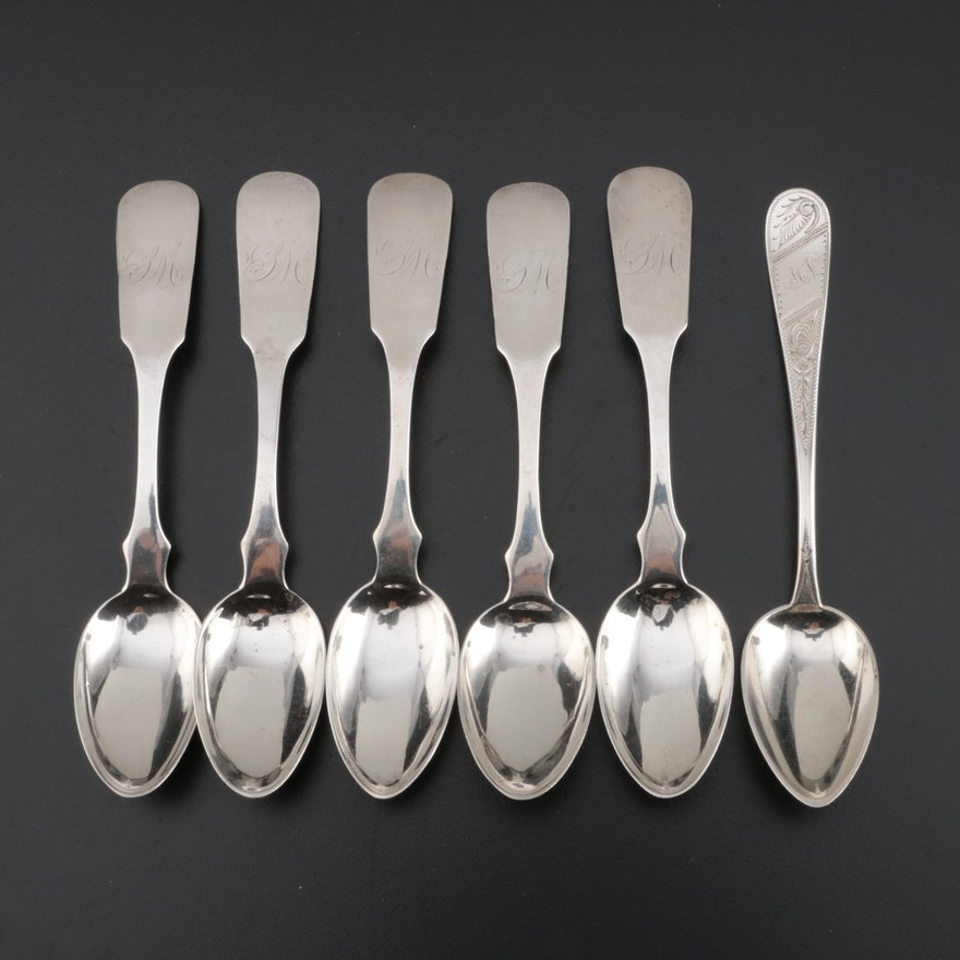 J. B. McFadden and Duhme & Co. Coin Silver Teaspoons, Mid to Late 19th Century