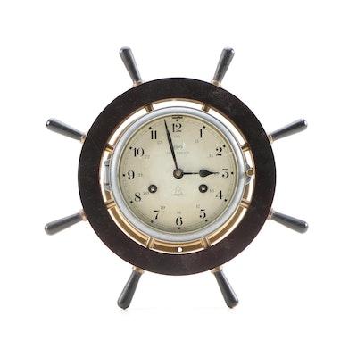 Schatz Royal Mariner Brass 8 Bell Ships Wheel Clock, Mid 20th Century