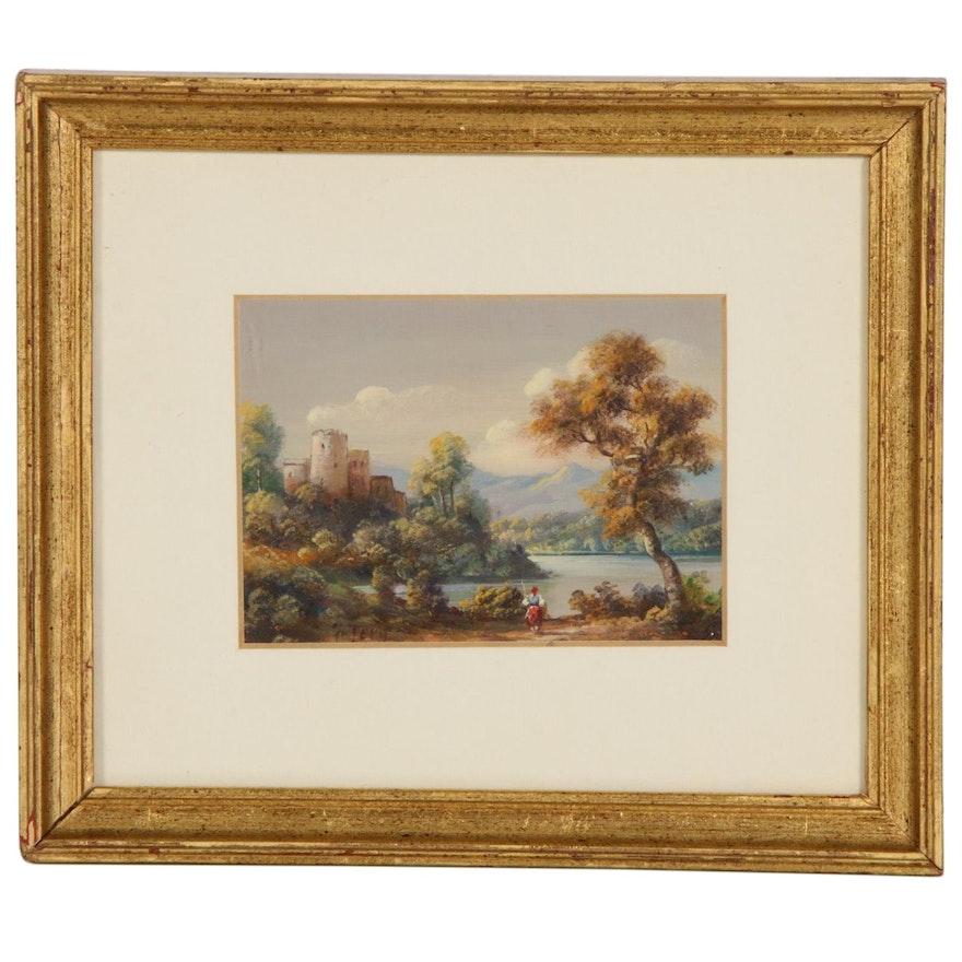 Miniature Idyllic Landscape with Castle Oil Painting, 20th Century