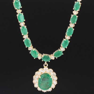 14K Gold Emerald and 2.12 CTW Diamond Necklace with 2.99 CT Center Stone
