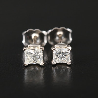 14K White Gold 0.66 CTW Diamond Solitaire Stud Earrings