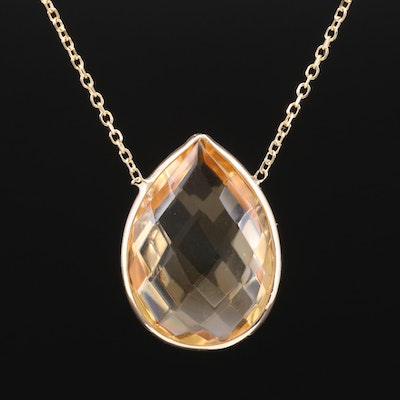 14K Yellow Gold Citrine Teardrop Pendant on Rolo Chain Necklace