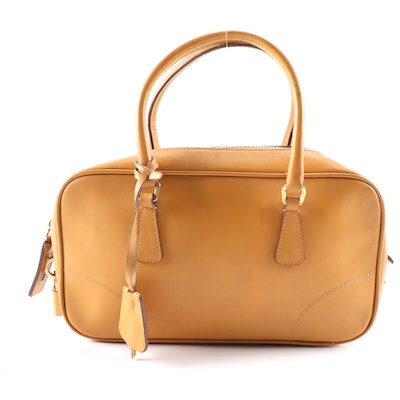 Prada Leather Satchel in Camel with Padlock