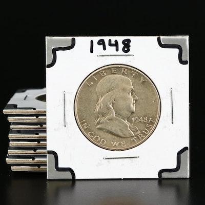 Eight High Grade Franklin Silver Half Dollars, 1948 to 1963