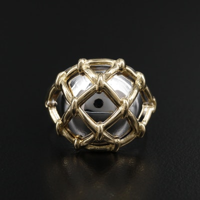 18K White and Yellow Gold Lattice Motif Dome Ring