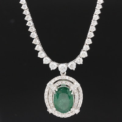 14K and 18K 5.03 CT Emerald and 8.64 CTW Graduated Diamond Necklace