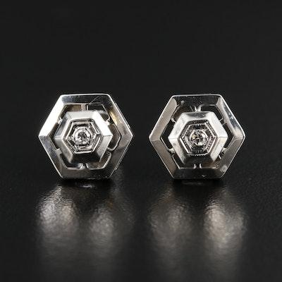 14K White Gold Diamond Octagonal Stud Earrings