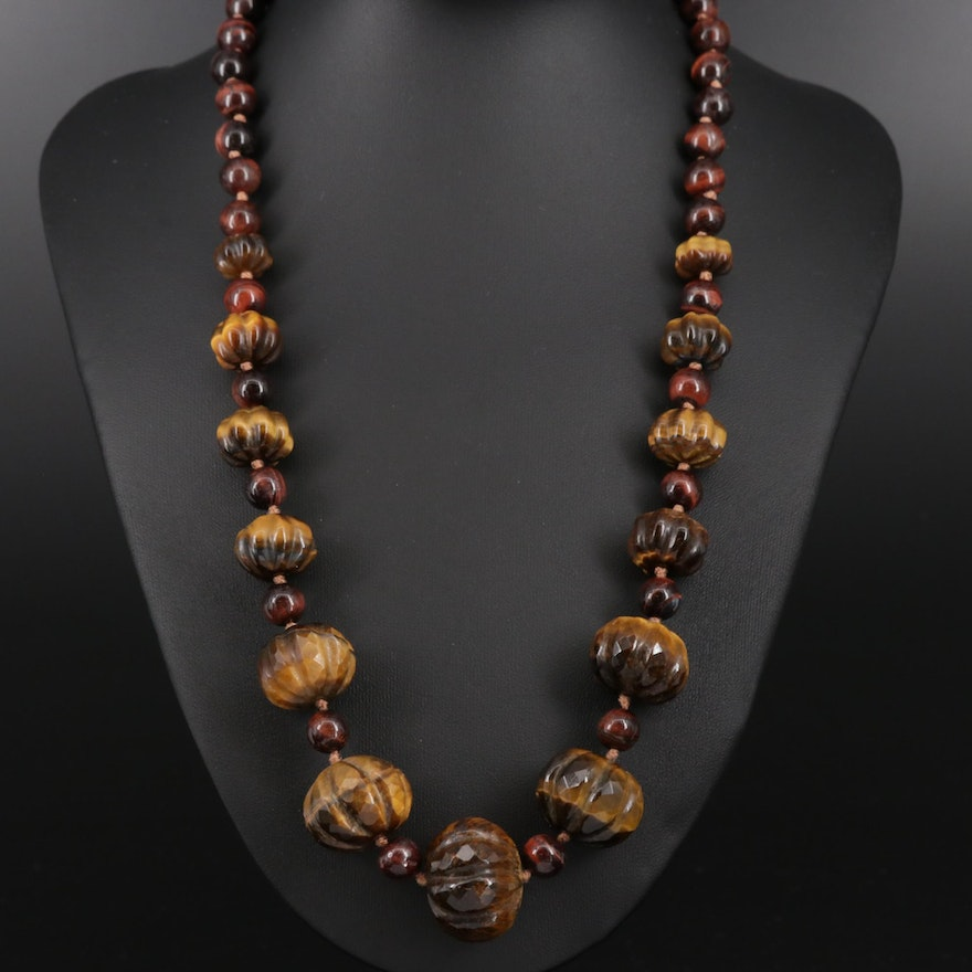 Tiger's Eye Graduated Fluted Beaded Necklace with Sterling Clasp