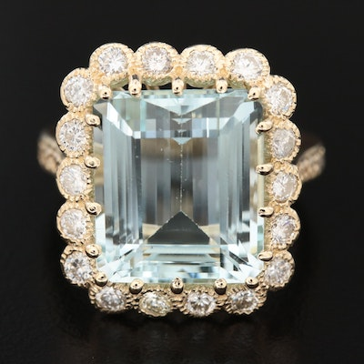14K Gold 9.80 CT Aquamarine and 1.32 CTW Diamond Ring