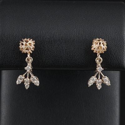 14K Gold Diamond Filigree Non-Pierced Dangle Earrings