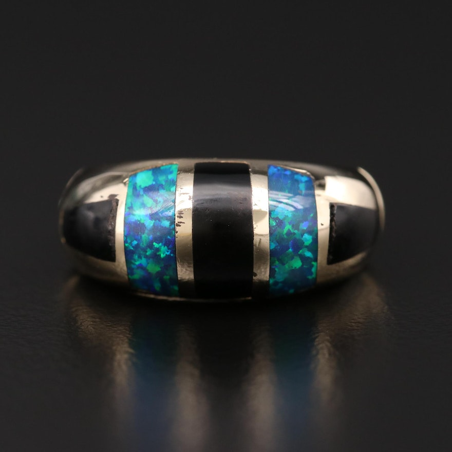 14K Gold Black Onyx and Snythetic Opal Inlay Ring