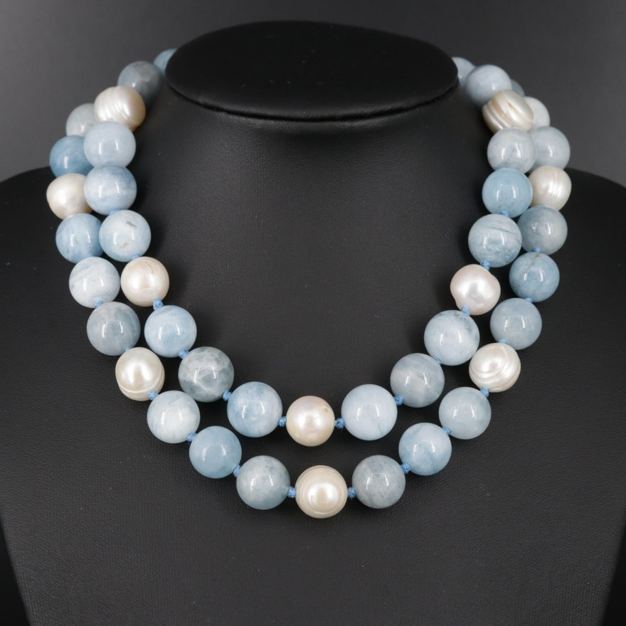 Aquamarine and Cultured Pearl Endless Necklace
