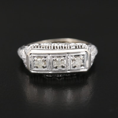 Circa 1930's 14K White Gold Diamond Filigree Ring