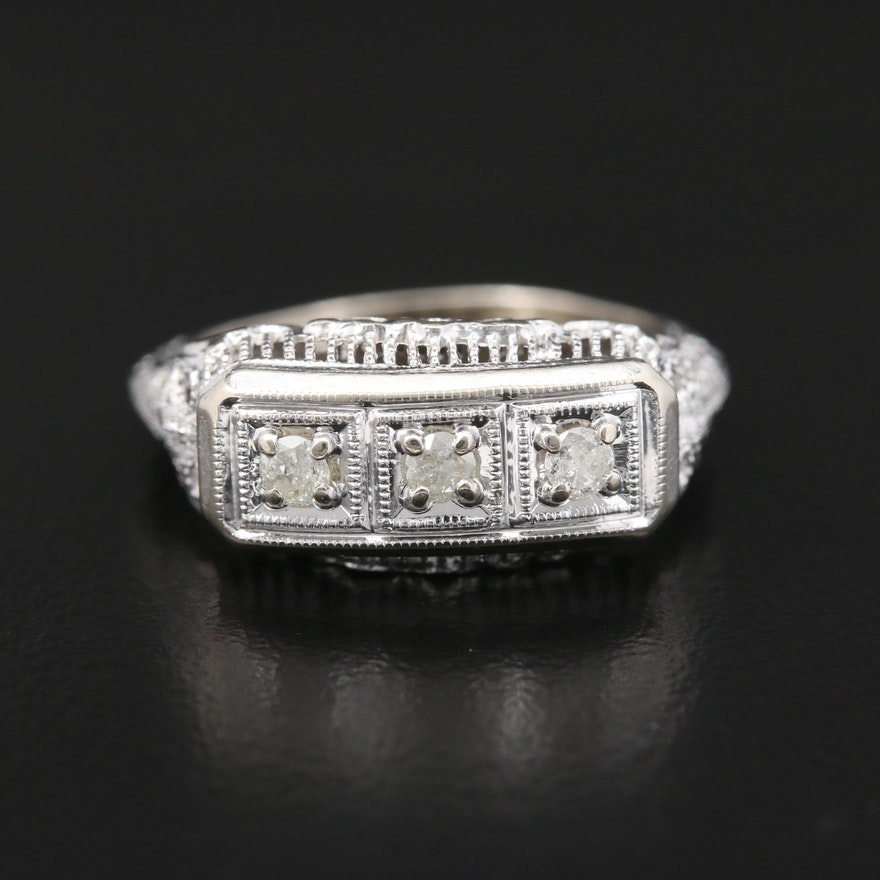 Circa 1930's 14K White Gold Diamond Filigree Ring