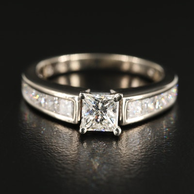 14K White Gold 1.17 CTW Diamond Ring with Channel Set Diamond Shoulders