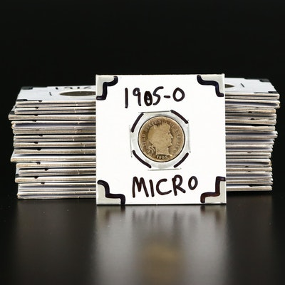 """Thirty Barber Silver Dimes, Including 1905-O """"Micro O"""" Variety"""