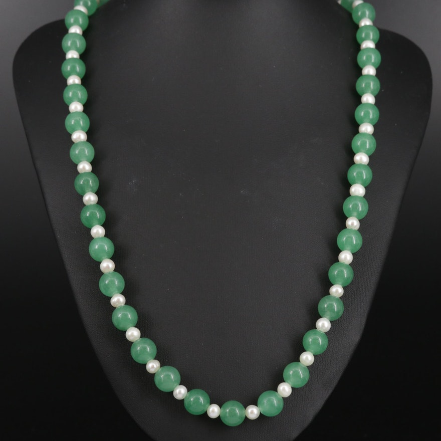 Quench Crackled Quartz and Cultured Pearl Necklace with Sterling Silver Clasp