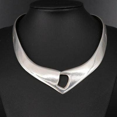 Vintage Los Ballesteros Mexican Sterling Silver Torque Necklace