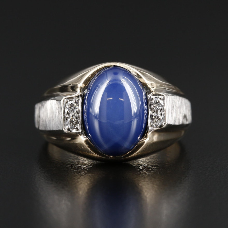 Vintage Star Sapphire and Diamond Florentine Ring with 14K White Gold Accents