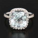 14K Gold 4.06 CT Aquamarine and Diamond Ring