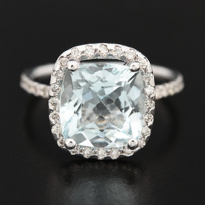 14K Gold 4.06 CT Aquamarine and Diamond Ring