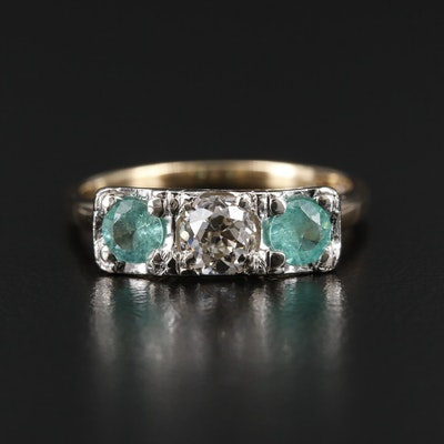 Art Deco 14K Yellow and White Diamond and Emerald Three Stone Ring