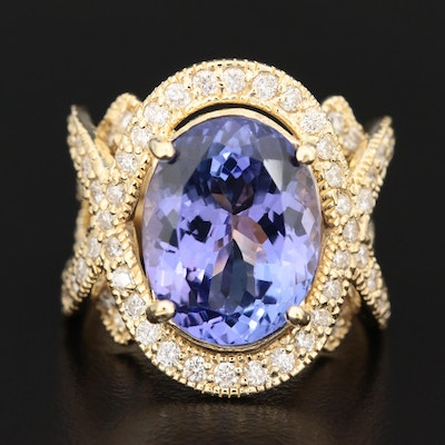 18K Gold 7.70 CT Tanzanite and 1.51 CTW Diamond Ring