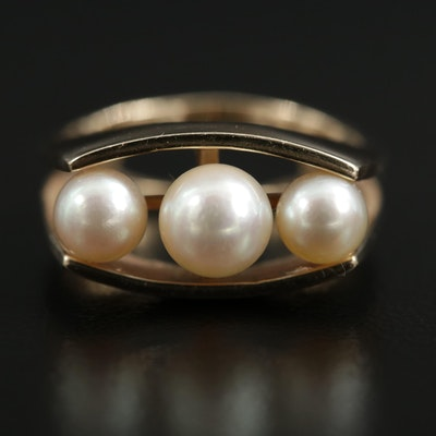 14K Yellow Gold Pearl Split Euro Shank Ring