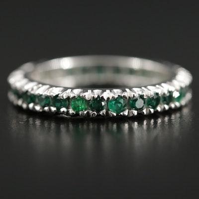 Art Deco 14K Synthetic Emerald Eternity Band