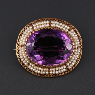 Early 1900s 10K 34.36 CT Amethyst and Seed Pearl Brooch