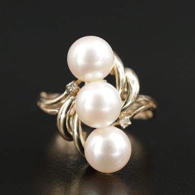 14K Yellow Gold Pearl Ring with Diamond Accents