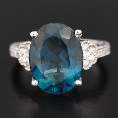 18K White Gold London Blue Topaz and Diamond Ring