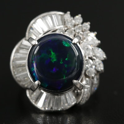 Platinum Opal Doublet and 2.15 CTW Diamond Ring