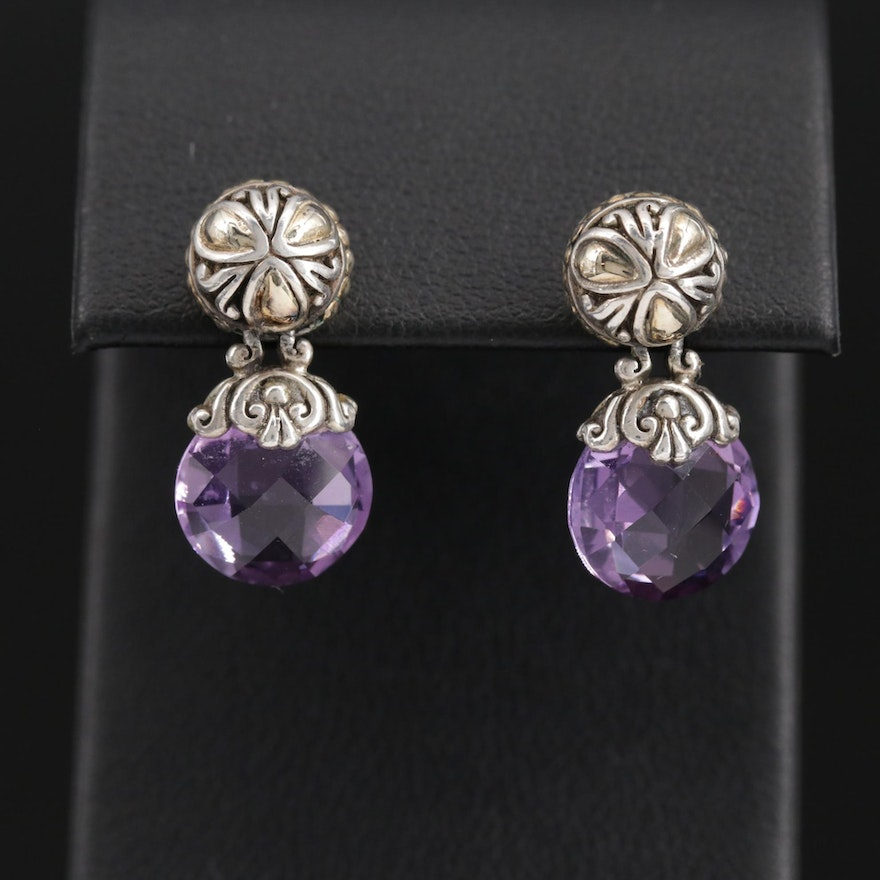 John Hardy Sterling Amethyst Drop Earrings with 18K Gold Accents