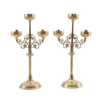 Three Arm Twisted Brass Candelabra