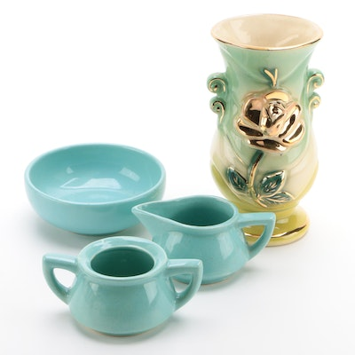 McCoy Turquoise Creamer, Sugar, and Bowl with Gilt Ceramic Vase