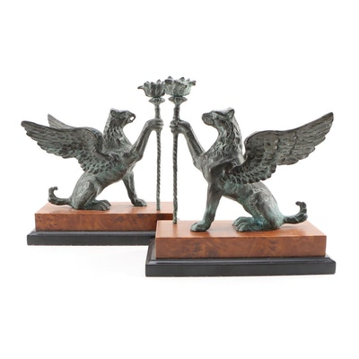 Bronze Patinated Metal Figural Gryphon Bookends