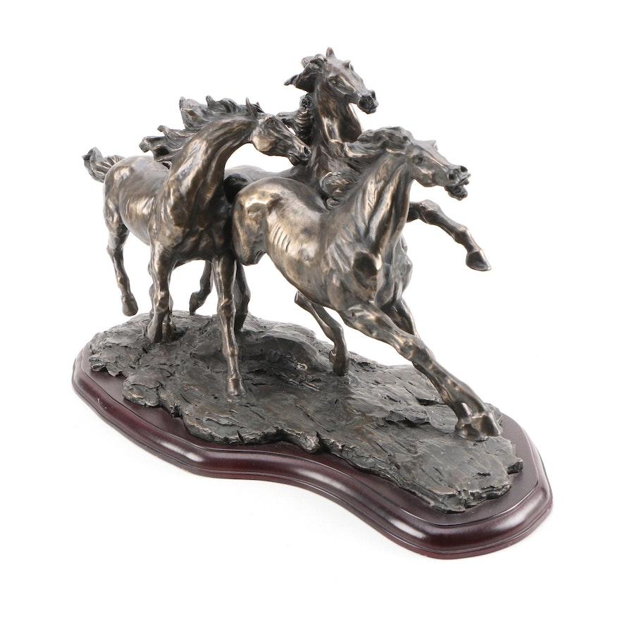 Veronese Bronze Sculpture of Running Horses, 1998